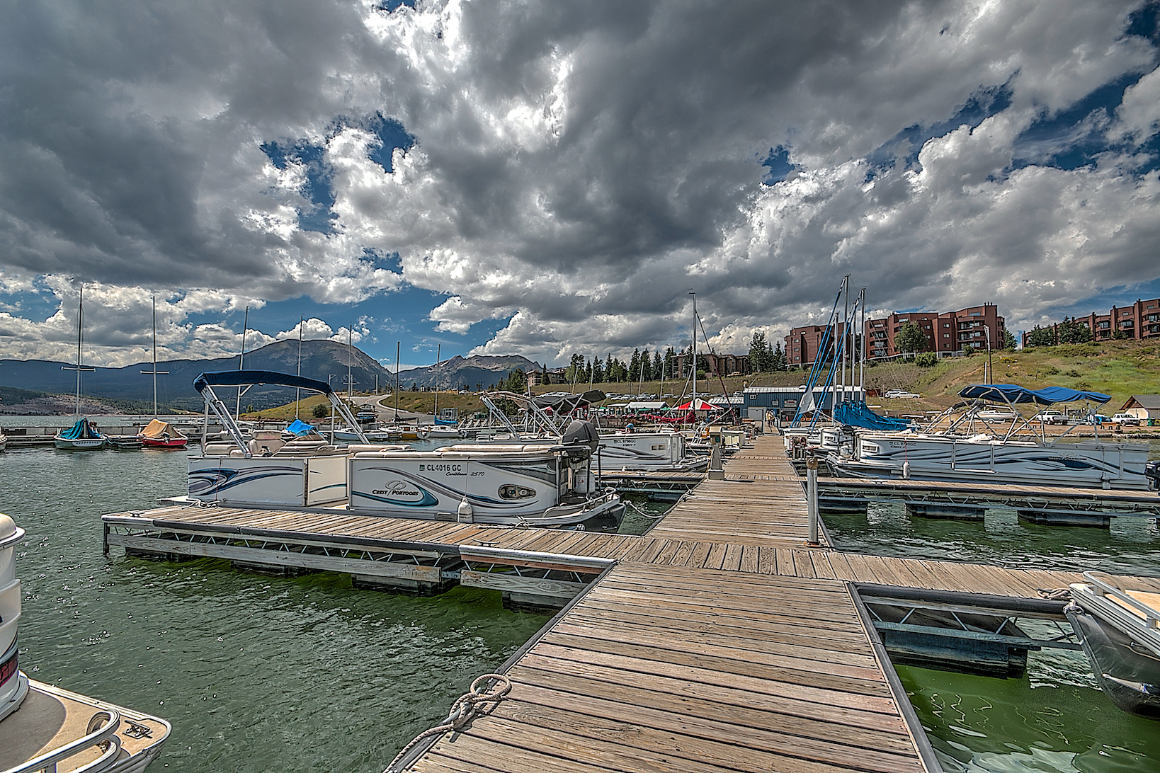 View from a dock at Dillon Marina looking back at the Marina